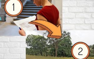Lady looking at home plans with arrow going to a vacant block of land