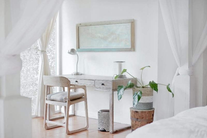 Desk with chair and lamp