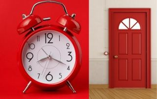 Red Alarm Clock & Door