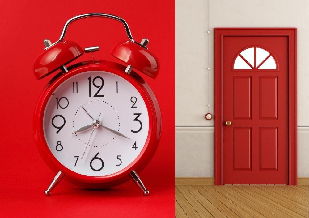 Red Alarm Clock & Door