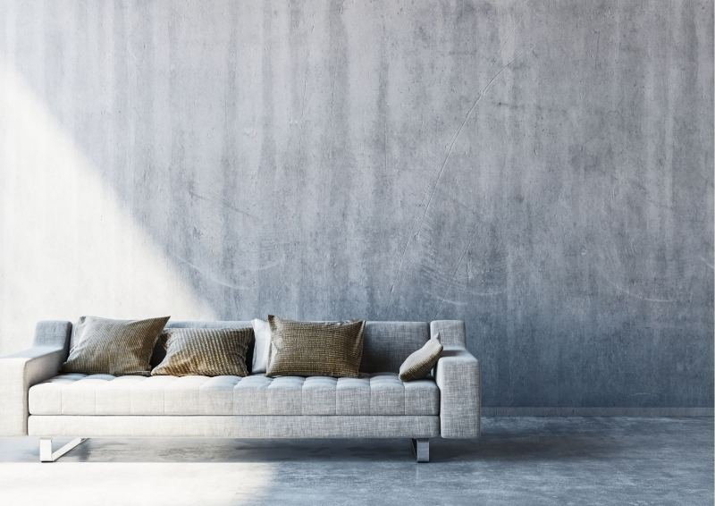 Couch on polished concrete floor