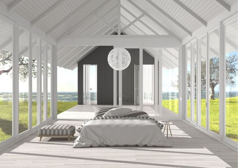 Bedroom in a glass house