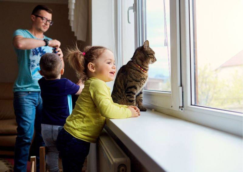 Family with cat looking out a window