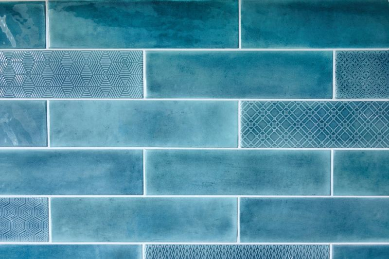 Blue tile wall with different patterns